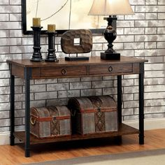 Decorate your rustic home with the Benzara Paige Industrial Console Table . This console table is crafted from durable metal and wood and provides plenty. Sofa Table Decor, Wood Sofa Table, Sofa End Tables, Hall Tables, Industrial Console Tables, Industrial Chic, Weathered Oak, Home Decor Shops, Entryway Decor
