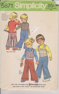 Vintage 70s Childrens Toddlers Sewing Pattern by Sutlerssundries, $5.50