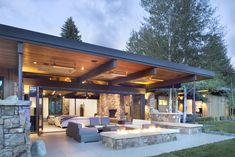 36 Enchanting Modern Patio Design Ideas That You Will Love - Setting up your patio furniture is not enough it would be nice if you embellish it with outdoor accents and accessories for a stylish and fabulous loo. Modern Patio Design, Outdoor Kitchen Design, Modern Gazebo, Pool House Piscine, Covered Patio Design, Mountain Living, Aspen Mountain, Outdoor Pergola, Backyard Pergola