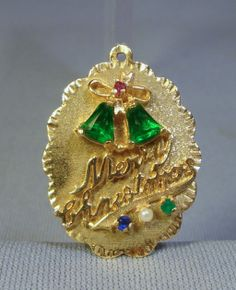 "Vintage Large 14k ""Merry Christmas"" Charm w/Stones 6.7g..."