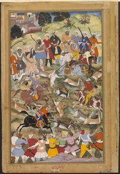 Akbar   Mukund   This illustration to the Akbarnama (Book of Akbar) depicts the Mughal emperor Akbar