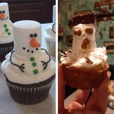 Making Snowman Cupcakes Will Be Easy, they said…   The Poke