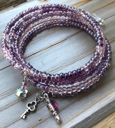 Faceted Glass, Glass Beads, Memory Wire Bracelets, Heart Charm, Birthstones, Seed Beads, Amethyst, Beaded Necklace, Birthstone Charms
