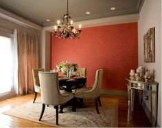 This red dining room features Benjamin Moore sandlot grey, chelsea grey, rouge. The accent wall is in rouge. Dining Room Accent Wall, House Design, Beautiful Dining Rooms, Red Dining Room, Accent Walls In Living Room, Home Decor, Room, Dining Room Colors, Apartment Decor