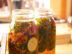 Quick-Pickled Zucchini recipe from Nancy Fuller via Food Network Zucchini Pickles, Pickled Zucchini, Food Network Farmhouse Rules, Nancy Fuller, Yellow Mustard Seeds, Roasted Beet Salad, Bbq, Walnut Salad, Canning Recipes