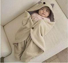manta saco de dormir gatinho para bebês - pronta entrega