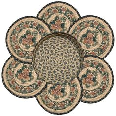 Pinecones & Pine Boughs Round Braided Jute Trivets in a Basket 7-Piece Set 56-025A