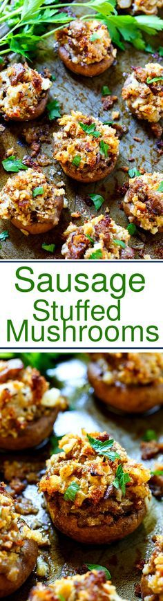 Sausage Stuffed Mushrooms make a delicious appetizer