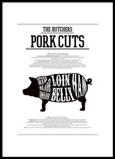 Kitchen poster with pork cuts chart. Description of the different cuts of pork in white on a pig silhouette. It looks great paired with our other kitchen posters of the same style, such as our red wine guide. www.desenio.com