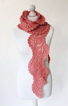 Crocheted cotton long lace scarf in coral от IvetaStasiulioniene