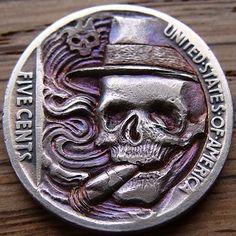 'The joy of a good cigar' Hobo nickel coin carving by Paul Holbrecht Custom Coins, Hobo Nickel, Coin Art, American Coins, Good Cigars, World Coins, Rare Coins, Skull And Bones, Coin Design