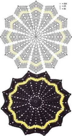 PatternThe basic ripple blanket is based on Celeste You. Crochet Potholder Patterns, Crochet Doily Diagram, Crochet Doily Patterns, Crochet Doilies, Crochet Flowers, Crochet Ideas, Crochet Stars, Crochet Circles, Crochet Shell Stitch