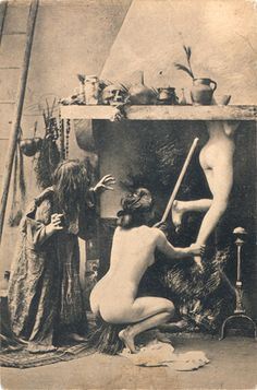 Witches flying up the chimney as they properly should, when making a shamanic journey.