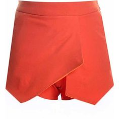 Red Solid Color Asymmetrical Hem Skort Shorts ($16) ❤ liked on Polyvore featuring shorts, red, golf skirt, red skort and red shorts