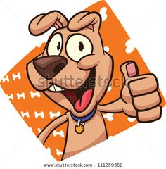 Cute cartoon dog with bone background. Vector illustration. Character and background on separate layer for easy editing. - stock vector