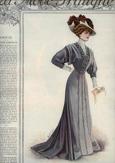 1908 La Mode Pratique, blue color, trim on bodice. Edwardian fashion.