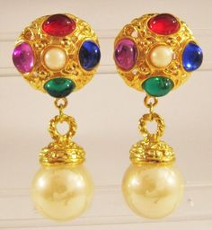 VINTAGE RUNWAY STATEMENT MULTI COLOR CABOCHONS & FAUX PEARL DROP CLIP EARRINGS #CLIP