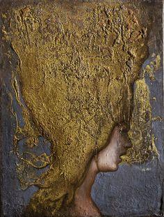 no title. 2013 oil gold leaf on wood . cm 47 x...