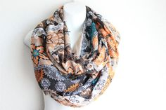 Paisley Infinity Scarf Aztec Scarf Oblong by myfashioncreations, $22.00