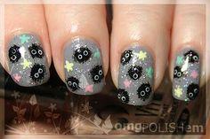Sootsprites with star candies! Spirited Away nails. Fancy Nails, Love Nails, My Nails, Beautiful Nail Designs, Cute Nail Designs, Pretty Nail Colors, Pretty Nails, Anime Nails, Kawaii Nails