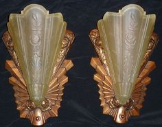 Pair of Art Deco Sip Shade Sconces with Rose Motif