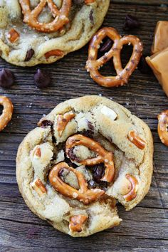Salted Caramel Pretzel Chocolate Chip Cookie Recipe on twopeasandtheirpod.com Chocolate chip cookies with salted caramel, pretzels, and sea salt! You will love the sweet and salty combo!