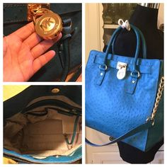 Stunning Teal, Turquoise Ostrich Hamilton Beautiful condition. A few wrinkles to the leather on the back and some scratches under the lock but otherwise just stunning. Color is rich and deep teal or turquoise color. Lovely bag with thick, chewy leather. This bag keeps its shape well. Great all season bag!  Michael Kors Bags Shoulder Bags