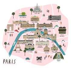 Paris Illustrated City Map on Etsy