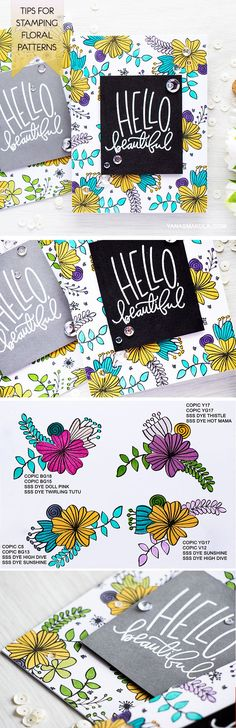 Never tried to stamp a floral pattern to use on a card? Follow these simple tips to get started! Blog post & video tutorial here - http://www.yanasmakula.com/?p=54057