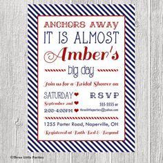 Anchors Away Nautical Bridal Shower Invitation
