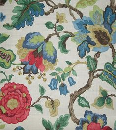 Sanderson Amanpuri Linen Fabric  £53.00 per metre  Printed floral in red and blue on light beige linen    Width	137 cms  Pattern Repeat	64 cms  Composition	100 % linen