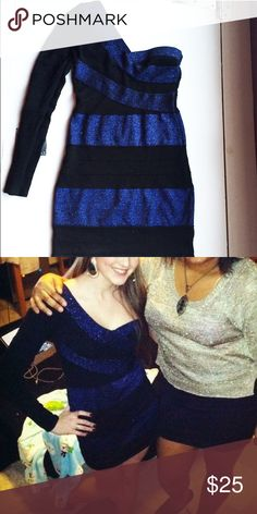 Body Con, One Sleeve, Black and Blue Striped Dress Body con, one shoulder mini dress. Perfect for a night out. 87% rayon, 7% nylon, 3% metallic, 1% spandex. Forever 21 size medium. Can also fit a size small. Forever 21 Dresses One Shoulder