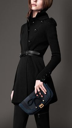 Burberry London Ribbed Knit Pea Coat