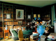 The library at Sir Sacheverell Sitwell's Weston Hall in Northamptonshire. littleaugury.blogspot.co.uk