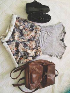 Floral Shorts + Backpack