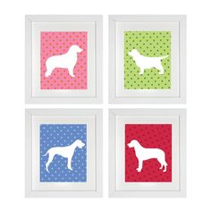 Dog prints on colored backgrounds.  All of are Nursery Art Prints are customizable to match any colors or décor. See the color chart to