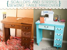 """An easy way to paint scallops on your projects using Shape Tape™ by Frog Tape®---check out this fun """"Scallops and Stripes"""" sewing table makeover! #shapetape #craftingchicks"""