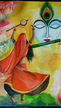 Canvas Painting Designs, Art Painting Gallery, Painting Art, Art Drawings Beautiful, Art Drawings For Kids, Art Drawings Sketches Simple, Krishna Painting, Krishna Art, Saraswati Painting