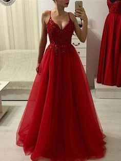 Plus Size Prom Dress, Red v neck lace tulle long prom dress, red evening dress Shop plus-sized prom dresses for curvy figures and plus-size party dresses. Ball gowns for prom in plus sizes and short plus-sized prom dresses Red Homecoming Dresses, A Line Prom Dresses, Prom Party Dresses, Evening Dresses, Maxi Dresses, Long Dresses, Dress Long, Quinceanera Dresses, Summer Dresses