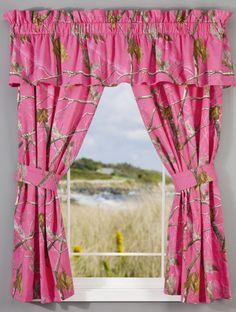 Bass Pro Shops Realtree APC Fuchsia Collection Rod Pocket Drapes or Valance Pink Camo Bedroom, Camo Nursery, Camo Rooms, Baby Girl Camo, Camo Baby Stuff, Real Tree Camouflage, Pink Camouflage, My New Room, My Room