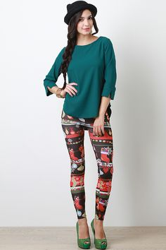 Deck your holiday spirit in these fun Hung With Cheer Leggings! These Christmas printed leggings features an elasticized waist, and stretchy taper cut construction.