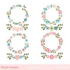 Flower Wreaths Clipart Floral Set By Pravokrugulnik Weddingclipart Floralclipart Floralwreath
