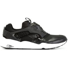 Puma Modern Trinomic Disc Blaze Sneakers ($136) ❤ liked on Polyvore featuring shoes, sneakers, black, black sneakers, black trainers, puma footwear, black shoes and puma sneakers