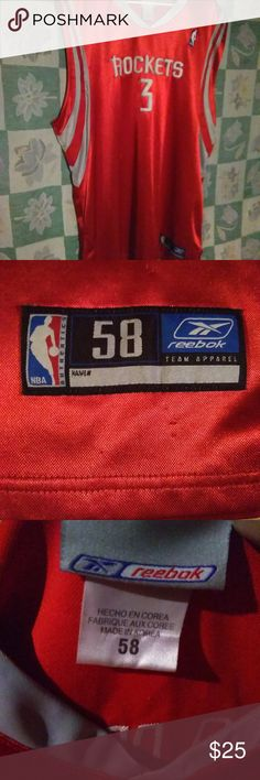 Reebok NBA Jersey Huston Rockets #3 (Francis) Used A used Men's Basketball jersey by Reebok. It's Steve Francis #3 from the Huston Rockets.There is no damage to this item.  It's lightly used and in almost new condition, worn a handful of times. Men's: 58  Color: Red/Gray/White, solid pattern (Screen Print of team logo/Player's name/Number. Material: 100% Polyester  Make an offer on this or any item you like. Bundle and save even more. Bundle deals change.   Thank you for shopping…
