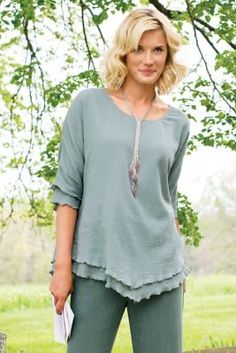 Siesta Key Top from Soft Surroundings - Cute ruffled edge crinkled cotton top with elbow length dolman sleeves.