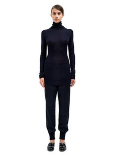 Lanvin Womens Knitted Turtle Neck Top