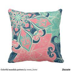 Colorful mandala pattern throw pillow