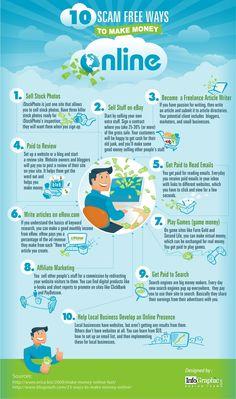 10 Scam Free Ways to Make Money Online - #infographic