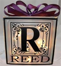 Decorative Glass Block with Initial