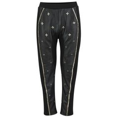 AnhHa Women's Leather Embellished Beaded Trousers - Black (2.189.225 VND) ❤ liked on Polyvore featuring pants, black, bootcut pants, genuine leather pants, boot cut leather pants, bootcut leather pants and embellished pants